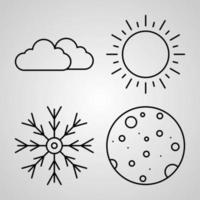 Set of Vector Line Icons of Weather