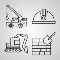 Construction Icon Collection White Color Background vector