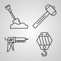Collection of Construction Symbols in Outline Style vector