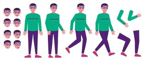 Flat young man character for motion vector