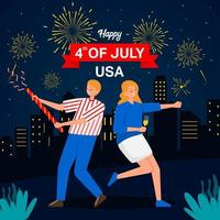 A Couple Celebrate America Independence Day vector
