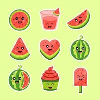 Cute Watermelon Sticker vector