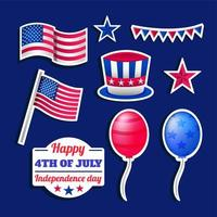 Happy 4th July Sticker Set Template vector