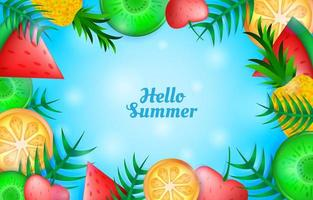 Hello Summer with Fruits Background Template vector