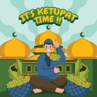 Young Religious Man Offering Ketupat vector