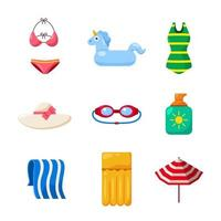 Set of Swimming Equipment for Women Icons vector