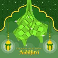 Celebration Aidil Fitri with Ketupat vector