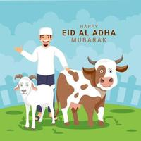 Celebrate Eid Al Adha with Animal vector