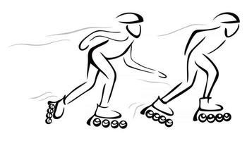 Two persons chasing at roller skates vector