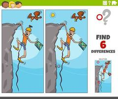 differences educational game with cartoon climber vector