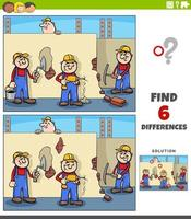 differences educational game with cartoon workers vector