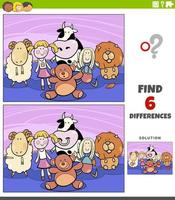 differences educational game with cartoon cuddly toys vector
