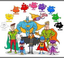 basic colors for children with superheroes group vector