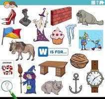 letter w words educational task for children vector