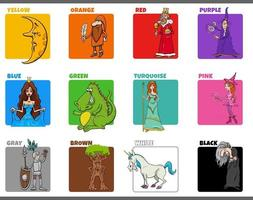 basic colors set with cartoon fantasy characters vector