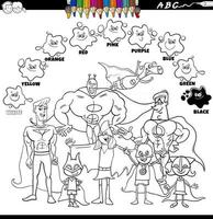 basic colors color book with superheroes group vector