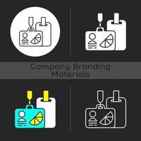 insignias de identificación de conferencias y reuniones de marca ícono de tema oscuro vector