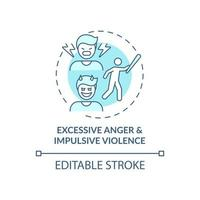 Excessive anger and impulsive violence blue concept icon vector