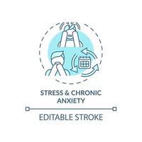 El estrés y la ansiedad crónica concepto icono azul vector