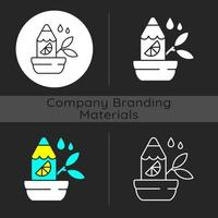 Branded growing pencil dark theme icon vector