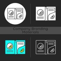 Branded paper folder dark theme icon vector