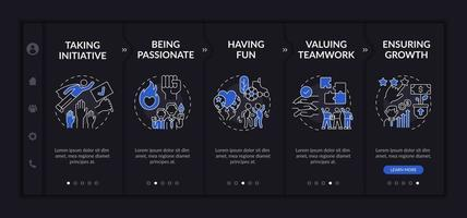 Basic company principles onboarding vector template