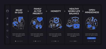 Personal morality onboarding vector template