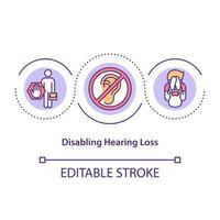 Disabling hearing loss concept icon vector