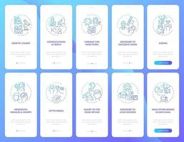 Hearing disabilities aspects onboarding mobile app page screen with concepts set vector