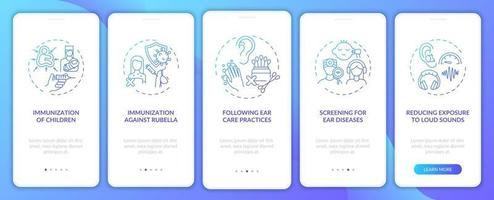 Hearing disability precaution onboarding mobile app page screen with concepts vector