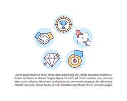 Seleccionar iconos de línea de concepto de objetivos auténticos con texto vector