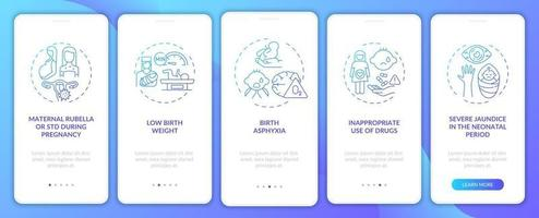 Hereditary hearing disability onboarding mobile app page screen with concepts vector