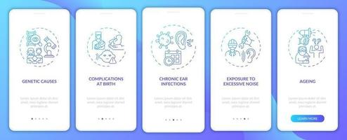 Hearing disabilities onboarding mobile app page screen with concepts vector