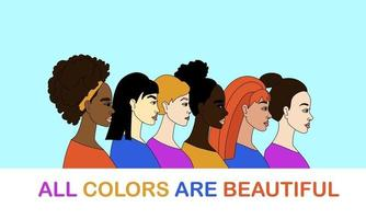 No racism concept Women of different nationalities vector illustration