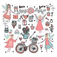 Big set for Valentines Day Cupids and magic fairies Vector illustration in doodle style
