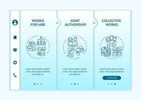 Copyright law special principles onboarding vector template