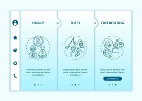 Copyright contravention types onboarding vector template