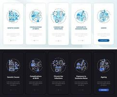 Deafness features onboarding mobile app page screen with concepts vector