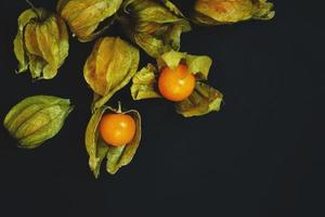 Beautiful and elegant macro close-up of a lot orange tasty fruit named physalis from Peru, South America, isolated with black background and space photo