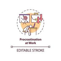 Procrastination at work concept icon vector
