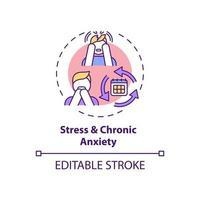 icono del concepto de estrés y ansiedad crónica vector
