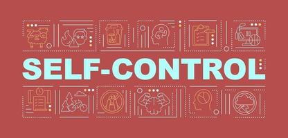 Self control tips word concepts banner vector