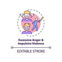 Excessive anger and impulsive violence concept icon vector