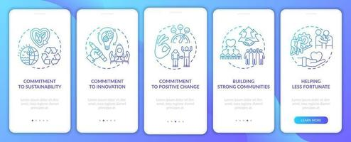 Business core ethics onboarding mobile app page screen with concepts vector