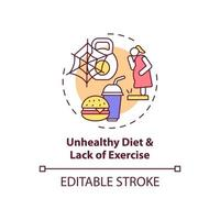 Unhealthy diet and lack of exercise concept icon vector
