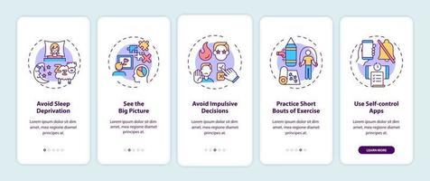 Self control boosting tips onboarding mobile app page screen with concepts vector
