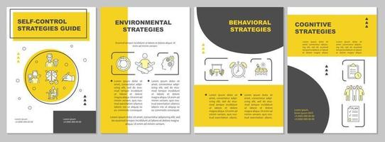 Self control strategies guide brochure template vector