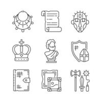 Museum exhibitions linear icons set vector