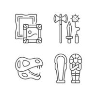 Archaeological excavation linear icons set vector