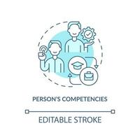 Person competencies blue concept icon vector